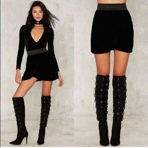Nasty Gal Collection • Black Velvet Mini Skirt